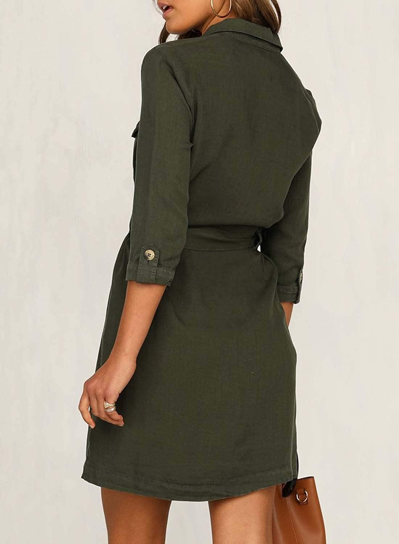 Happy Sailed Damen Langarm V-Ausschnitt Elegant Kurz Blusenkleid Hemdkleid Shirt Kleid Oberteil Kleid Minikleid mit G/ürtel S-XL