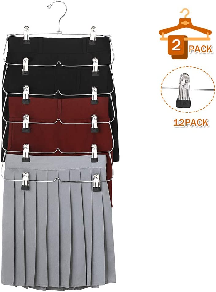 Trouser Foldable Space Saving Hangers for Slack SANDY ANANKE 2 Pack 6 Tiers Skirt Hangers with Adjustable Clips Jeans,Towels