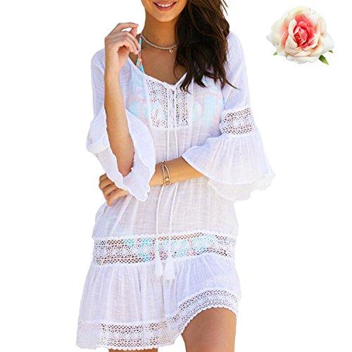 Tunica da Bianco Parei Beachwear Costume Spiaggia Cover Donna Bagno Mare Bikini Copricostume up MuRstido Ew4Oq0O