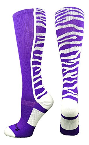 Tiger Stripes Purple Design - MadSportsStuff Crazy Socks with Safari Tiger Stripes Over the Calf Socks (Purple/White, Medium)