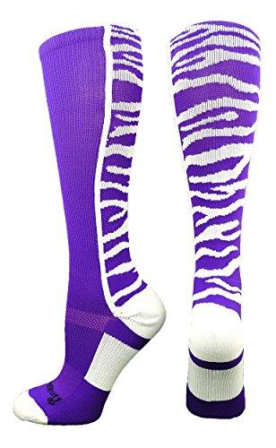 Tiger Stripes Purple Design (Crazy Safari Tiger Stripe OTC Socks (Purple/White, Medium))