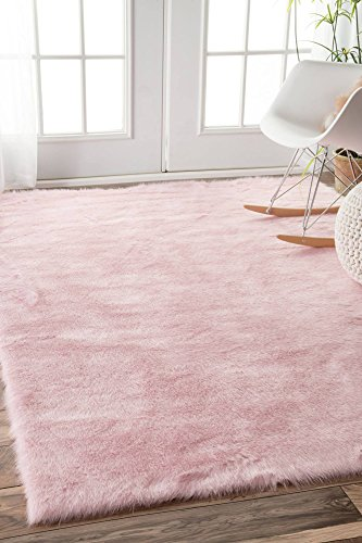 nuLOOM Faux Sheepskin Cloud Solid Soft and Plush Shag Area Rug, 5' x 7', (Pink Shag)