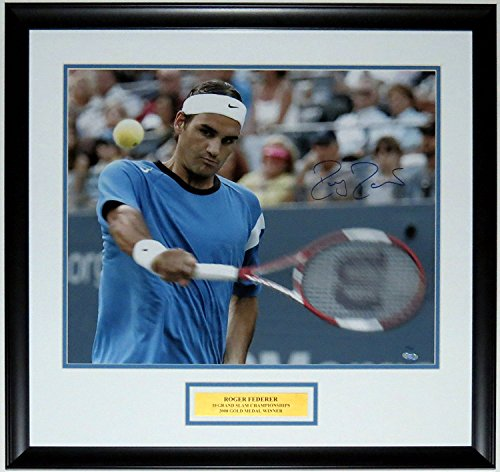 Roger Federer Framed Photo (Roger Federer Signed 19 Grand Slams 16x20 Photo #'d /50 - Steiner Sports COA Authenticated - Custom Framed & Plate)