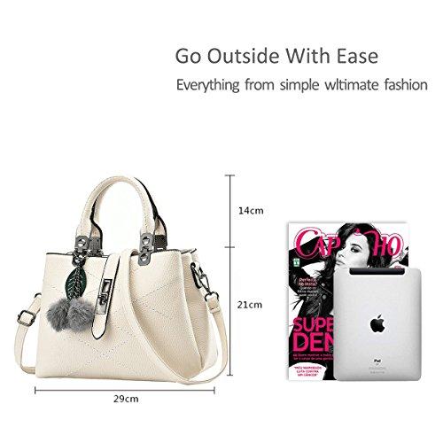 NICOLE&DORIS nuevo paquete de ondas de mensajero del bolso del bolso de las señoras bolsos del bolso de las mujeres para las mujeres(Pink) Blanco