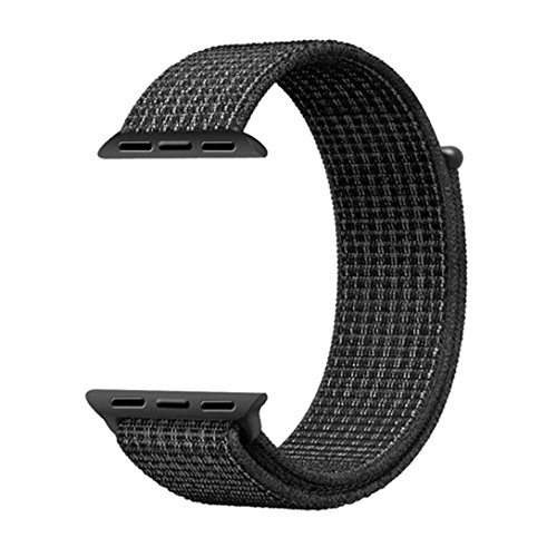 Langte Apple Watch Sport Loop band 42mm with Hook and Loop Fastener Adjustable Closure Wrist Strap Replacement Band for iwatch Apple Watch Series 3 /2 / 1,Black ( Mix White - Mix Tape Apps