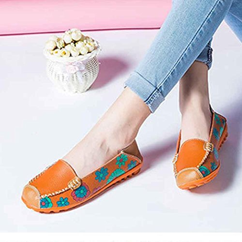 Transer Flower Ladies Leisure Flats Shoes, Women Slip on Casual Work Loafers Comfortable Lazy Shoes Orange