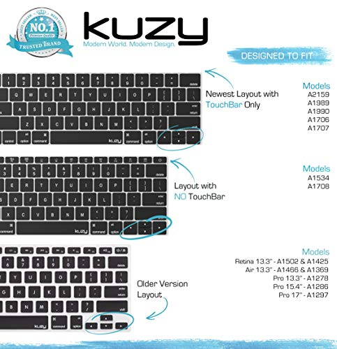 Kuzy - MacBook Pro Keyboard Cover with Touch Bar 13 and 15 inch Premium Ultra Thin TPU New 2019 2018 - http://coolthings.us