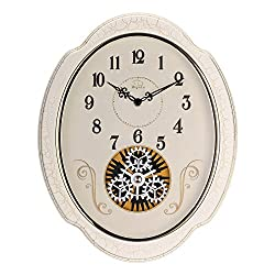 SMC 15-inch Modern living room European art idyllic mute oval wall clock, White Plastic Frame