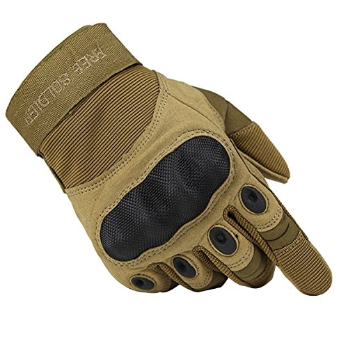 FREE SOLDIER Tactical Gloves Outdoor Military Armor Hard Knuckle Full Finger Gloves for Men Cycling Motorcycle Hiking Airsoft Gloves (X-Large, Sand Color)