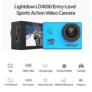 "Lightdow LD4000 1080P HD Sports Action Camera Kit - DSP:NT96650 + 1.5"" LPS-TFT LCD + Bonus Battery + 170° Wide Angle Lens (Blue)"