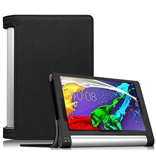 Fintie Lenovo Yoga Tablet 2 (8 Zoll) Hülle Case Cover Tasche Etui - Folio Kunstleder Schutzhülle mit Auto Sleep / Wake (geeignet für Lenovo Yoga Tablet 2-8 20,32 cm 8.0 Zoll Tablet-PC Android und Windows Version), Schwarz