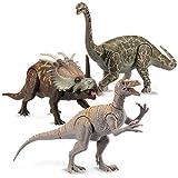 Kid Galaxy Poseable Dinosaur Figure Toy Playset. Argentinosaurus, Styracosaurus (like Triceratops), Australoventor