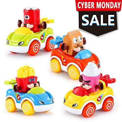 VATOS Car Toys for Baby 1-2 Year Old Boys & Girls, Cars for Toddlers Cartoon Push and Go Car, Toddler Toy Cars Set of 4, Toy Cars for 1, 2 Years Old
