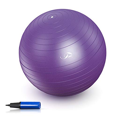 JBM Exercise Yoga Ball with Free Air Pump (4 Sizes 5 Colors) 200 lbs Slip-Resistant Yoga Balance Stability Swiss Ball for Fitness Exercise Training Core Strength (Purple, 75-85cm)