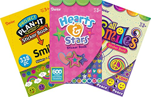 Hearts, Stars and Smiles Assorted Sticker Books for Kids - 3 Books and over 1500 Stickers ()