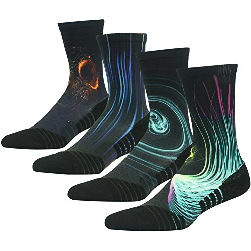 Basketball Socks Youth, HUSO Unisex Crazy Galaxy Pattern Luxury Combed Cotton Crew Cushioned Mountain Biking Socks 4 Pairs (Multicolor, L/XL)