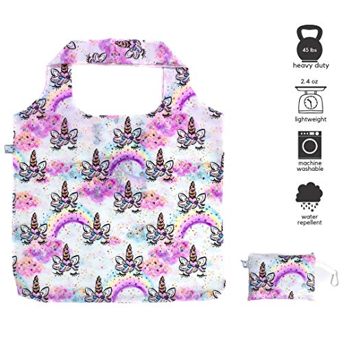 P&P Alternative White Unicorn Large Reusable Grocery Tote Bag (Foldable, Heavy Duty, Ultralight) and Zippered Storage Pouch with Carabiner Key Clip (Bag Tote Nanny)