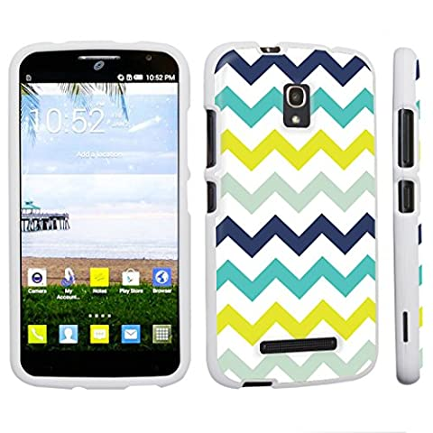 DuroCase ® Alcatel One Touch POP Mega LTE A995G Hard Case White - (Mint Chevron) (Alcatel A995g Wallet Case)