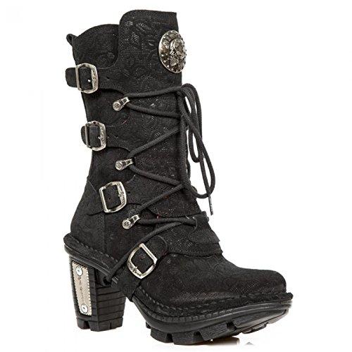 New Rock Laarzen M.neotr005-c39 Gothic Hardrock Punk Damen Stiefel Schwarz