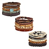 MILAKOO 14 Pcs Braided Leather Bracelets for Men Women Vintage Cuff Wrap Wristbands