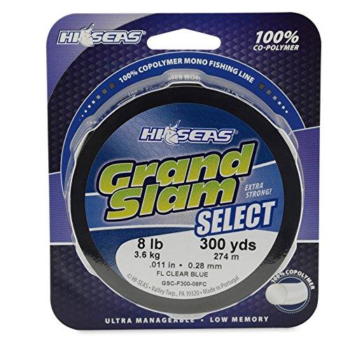 Hi-Seas Grand Slam Select 100-Percent Copolymer Line, Fluorescent Clear Blue, 15-Pound Test, 300-Yard