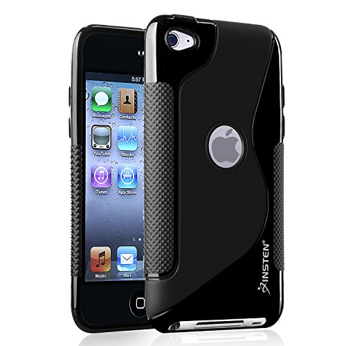 (Insten TPU Rubber Skin Case for iPod touch 4G (Frost Black S Shape))