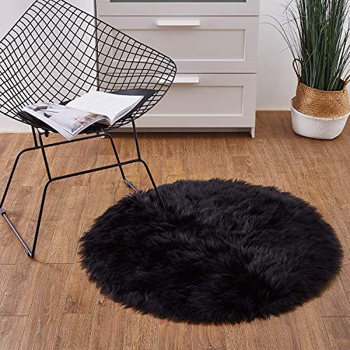 Ashler Faux Fur Black Round Area Rug Indoor Ultra Soft
