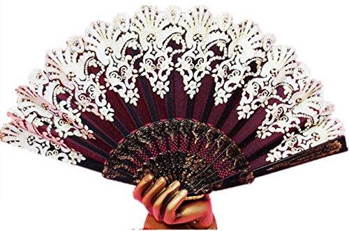 Spanish Style Black Wedding Party Lace Brocade Folding Hand Held Fan Flower