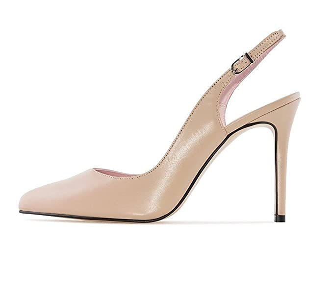 EKS Damen Elegante Spitzschuh Dünne Fersen Slingback Matte Dress Court Schuhe Aprikose 39EU qt9FhLUFGM