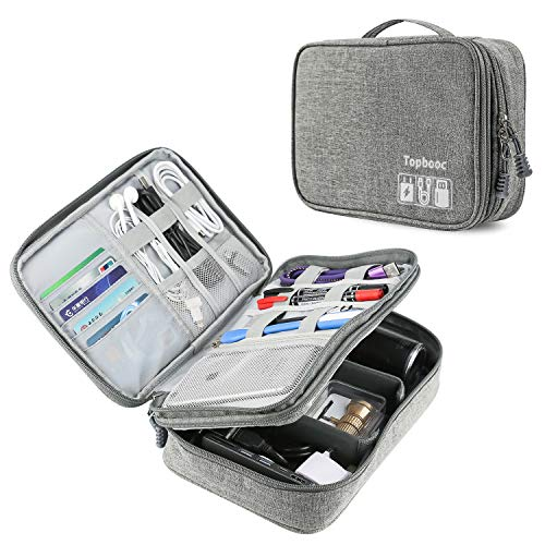 Universal Electronics Accessories Organizer, Waterproof Portable Cable Organizer Bag,Travel Gear Carry Bag for Cables (L, Upgrade Verison-Grey)