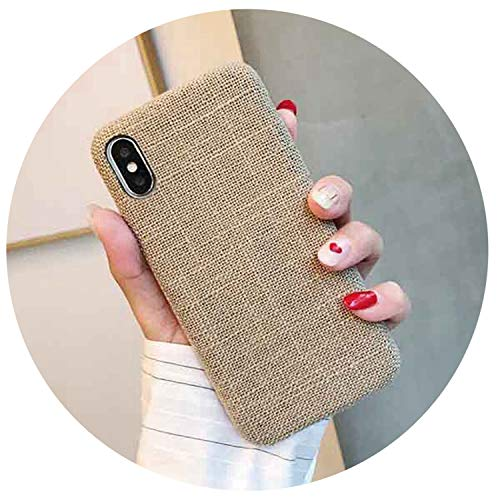 Canvas Grid Pattern Phone Cases for iPhone Xs Max XR for iPhone 6 6S 7 8 Plus X XS Cloth Texture Soft Back Cover Case,l,for iPhone 6Plus 6SP]()