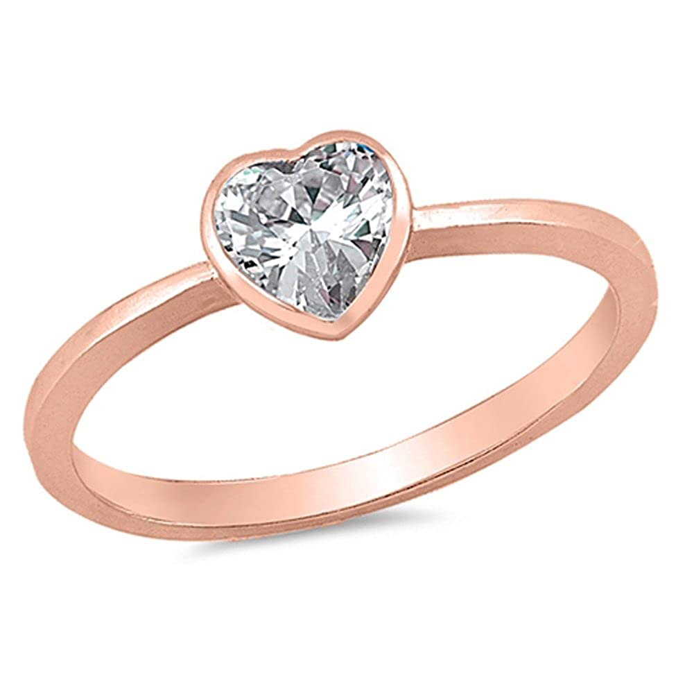 CHOOSE YOUR COLOR Sterling Silver Heart Promise Ring Sac Silver