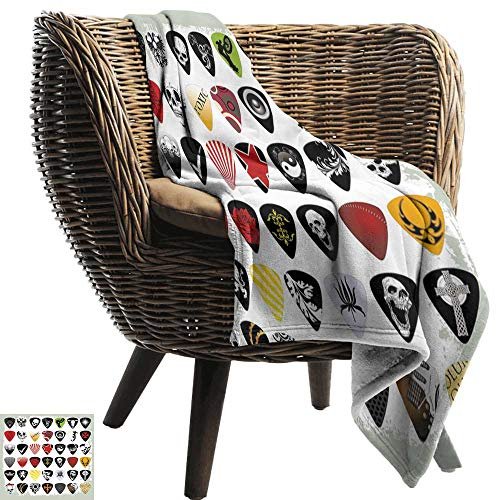 (BelleAckerman Travel Blanket,Rock Music,Guitar Picks Various Designs Skulls Crosses Stripes and Stars Rockstar Lifestyle,Multicolor,Cozy Hypoallergenic, Easy to Carry Blanket 60