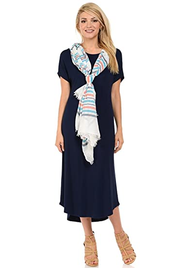 iconic luxe Women's A-Line Short Sleeve Midi Dress Small Navy