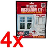 4 X WINDOW INSULATION KIT SHRINK FIT DOUBLE GLAZING FILM DRAUGHT EXCLUDER COLD
