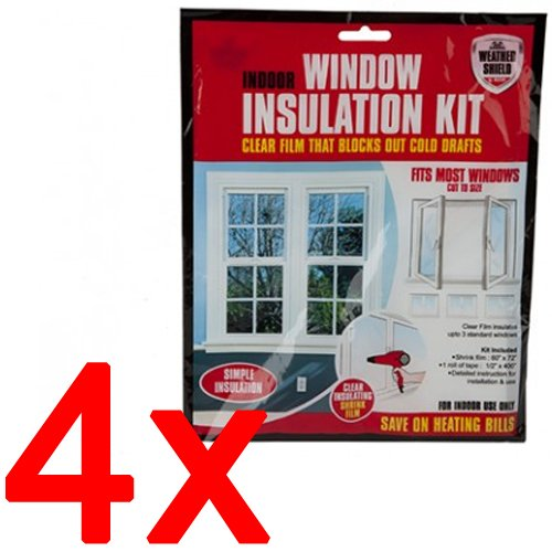 4 X Window Insulation KIT Shrink FIT Double Glazing Film Draught EXCLUDER Cold BARGAINS-GALORE