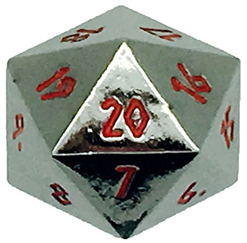 Chrome Dice (Custom & Unique {XL Big Large 25mm} 1 Ct Single Unit Set of 20 Sided [D20] Icosigon Shape Playing & Game Dice Made of Metal w/ Simple Classy Chrome Design [Silver & Red])