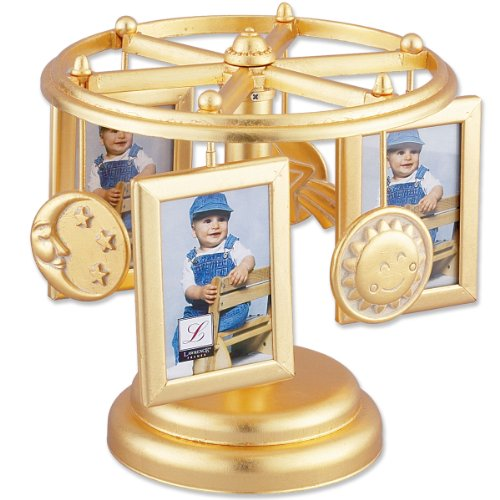 Lawrence Frames Wind Up Musical Carousel Picture Frame, Gold Sun, Moon, and Stars Design, Holds 6 2 by 3-Inch Photos