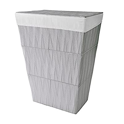 "LaMont Home Chevron Hamper Color: Grey/White Liner - Featured in grey/white liner 18.13"" x 13"" x 24"" Chevron design - laundry-room, hampers-baskets, entryway-laundry-room - 51lgvCEu4EL. SS400  -"