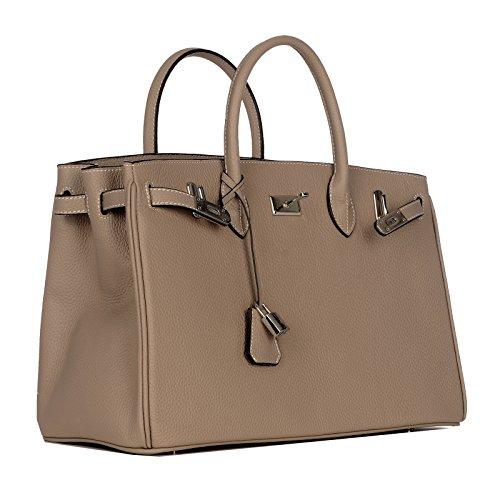Ultima modella / Rouven / Icone 35 Tote Bag / Taupe caldo eToupe Grigio / Signore Donna Borsa in pelle borsa / Business / nobile moderno puristico / 35x26x18cm