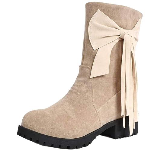 Kaizi Karzi Mujer Tacon Bajo Botines Sin Cordones: Amazon.es: Zapatos y complementos