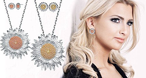 LUX AND GLAM Sterling Silver Two-Tone CZ Sunflower Necklace Earring Set Jewelry (18 Chain)