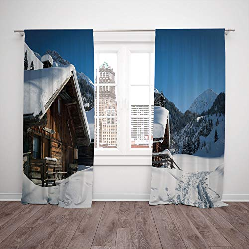 (iPrint 2 Panel Set Thermal Insulated Blackout Window Curtain,Winter Wooden Houses on Austrian Mountains Snowy Forest Cottage Holiday Destination Photo,for Bedroom Living Room Dorm Kitchen Cafe)
