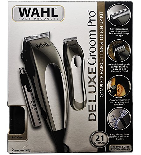 WAHL Deluxe Groom Pro 21 Pieces Hair-cutting Kit 220V~60Hz (Not For North America ) (Wahl Clipper Groom Kit)
