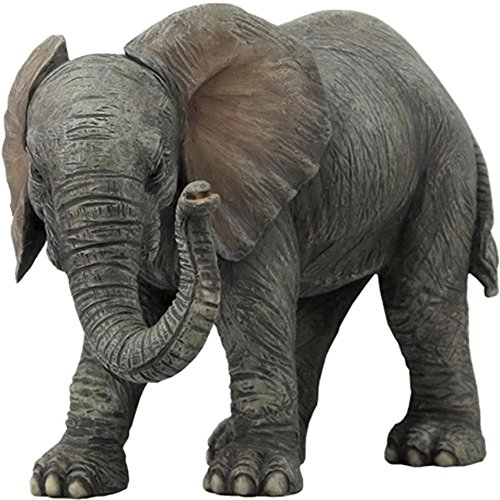 (5.75 Inch Baby Elephant Standing Decorative Statue Figurine, Gray)