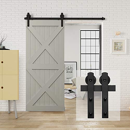 """HomLux 6.6ft Heavy Duty Sturdy Sliding Barn Door Hardware Kit, Single Door-Smoothly and Quietly, Easy to Install and Reusable - Fit 1 3/8-1 3/4"""" Thickness & 40"""" Wide Door Panel, Black(I Shape Hanger)"""