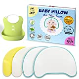 Flat Head Baby Pillow | Correction and Prevention for newborns | Infant neck and shoulder support with 2 Soft Bamboo Covers and Silicone Bibs