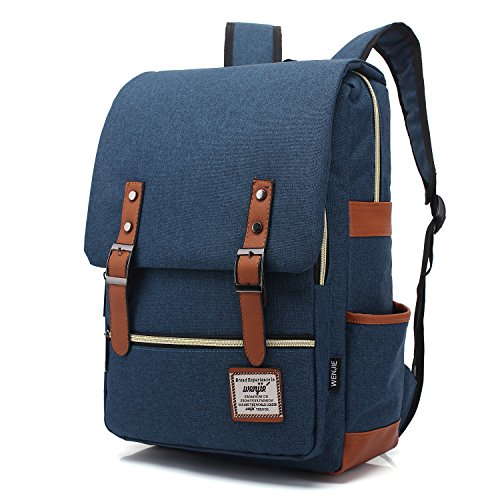 Mn&Sue British Style Casual Waterproof Oxford College School Multi-Compartment Laptop Backpack (Large, Navy Blue) ()