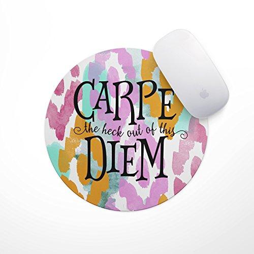Inspirational Quote Floral Mouse Pad - Carpe Diem