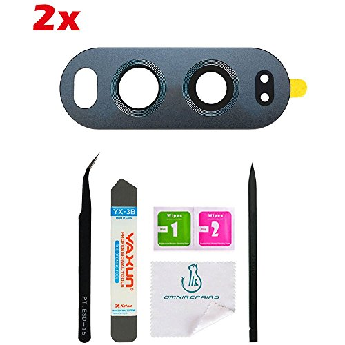 OmniRepairs-Rear Facing Glass Camera Lens Frame Assembly Replacement (2 Pieces) with Adhesive For LG V20 and Repair Toolkit - Fix Glasses Scratched Lens